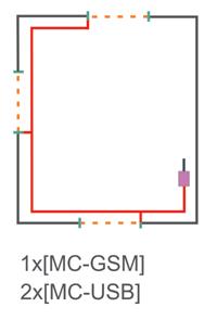 Схема подключения на три входные группы с одним GSM модулем